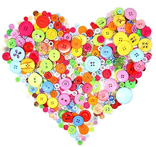 UCLEVER Bottoni Colorati Assortiti, Bottoni per Bambini Misti in Diverse Dimensioni e Colori per Lavorazione, Cucito, Decorazione, Pittura per Bambini, Deco Regalo(700/800 PCS)