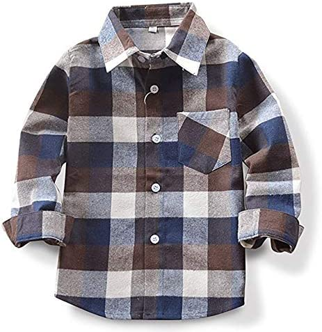Toddler Baby Boy Girls Outfits Plaid Flannel Long Sleeve T Shirt Tops Kid Clothes 3 4T product image