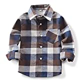 Toddlers Baby Boys Girls Clothes Plaid Flannel Formal Shirt with Button Down Kids Outfit 1-2T Blue