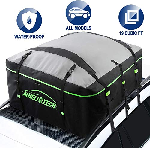 AURELIO TECH 19 Cubic Feet Car Rooftop Cargo Carrier Bag, Waterproof Material Roof Bag, Fits All Cars with/Without Rack, 6 Door Hooks and Anti-Slip Mat Included