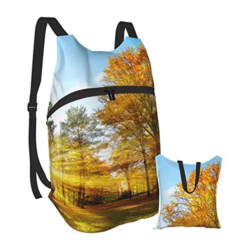 Mochila portátil plegable, para adultos, mochila para computadora de otoño, color amarillo claro, antirrobo, delgada, duradera, para portátiles