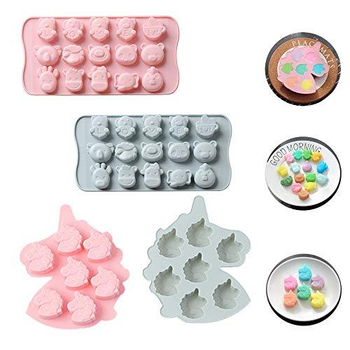 Silikon-Schokoladen und Eiswürfelformen von X-BLTU,Backformen aus Silikon zum Backen,Bonbons und Schokolade,Silikon Süßigkeiten Formen Gummibärchen Formen-Werkzeuge zur Bonbon-Süße Tiere und Einhörner