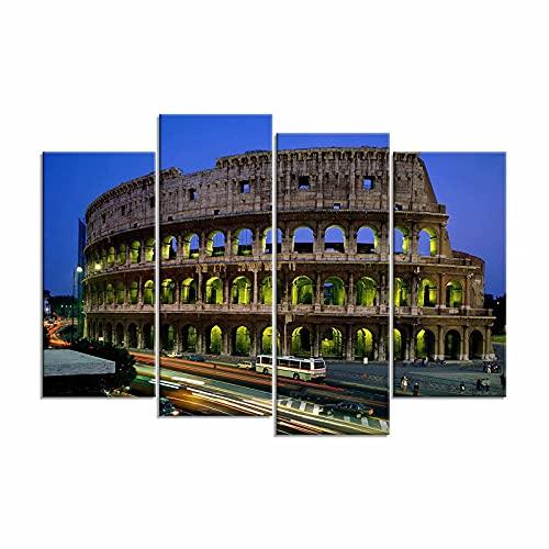 CHENSQ Pinturas de decoración arquitectónica del Coliseo de Roma, 4 lienzos Modernos sin Marco Pinturas en los lienzos de Cuadros Sala de Estar Dormitorio Decoración de Oficina en casa