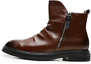 AiHua Huang Motorcycle Combat Boots for Men Ankle Shoes Pull on with Side Zipper Microfiber Leather Anti Slip Burnished Pointed Toe Hidden Height Increasing Wrinkle (Color : Brown, Size : 7 UK)