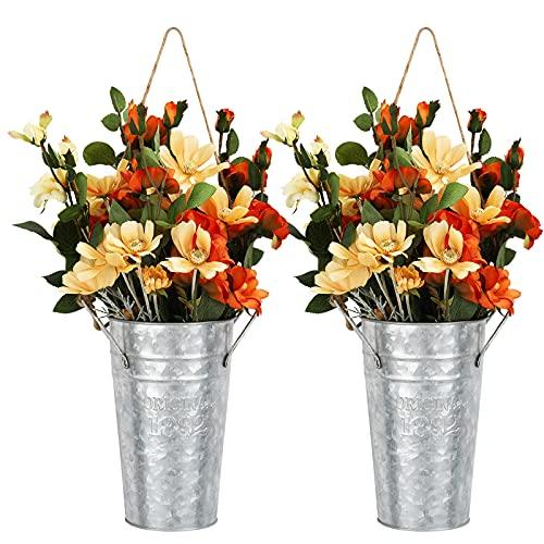 Shinowa [2 PZS Macetas de Metal, Cubo Decorativo de Flores con Asas, Jarra de Metal Vintage Cubo de...
