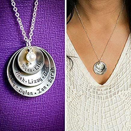 Personalized Grandmother Necklace – DII ABC - Mom Gift - Handstamped Handmade – 5/8 7/8 1 1/8 inch Cupped Discs – Custom Birthstone Color – Fast 1 Day Shipping