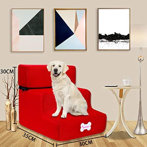 Fenverk Hundetreppe Katzentreppe Haustiertreppe mit 2 Stufen/3 Stufen, 30 x 35 x 30 cm, Einstiegshilfe für kleinere Hunde Katze,Abnehmbar,Faltbar,Leder(B rot, 3 Schritte,)