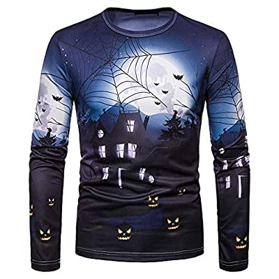 NIUQI Men Autumn Winter Halloween Printing Top Men's Long-Sleeved T-Shirt Blouse