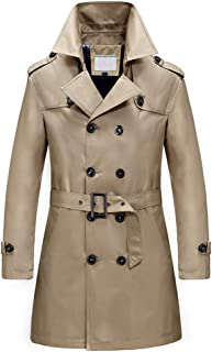 Men's Classic Fit Trench Coat Long Double Breasted Overcoat Outerwear Pea Coat