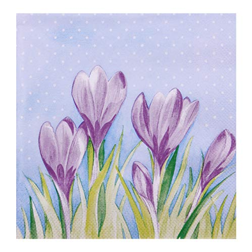 finemark 20 Stück Papierservietten KROKUSSEN Hellblau Lila 33 x 33 cm Tissue Servietten 3- lagig Tischdekoration Blumen Frühling Sommer Ostern