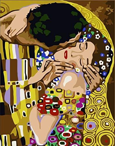 DIY Malerei Klimt - Der Kuss Kunst Malen nach Zahlen 16x20 Zoll Frameless