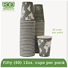 ECO-PRODUCTS, INC EPBHC12WAPK World Art Renewable Resource Compostable Hot Cups, 12oz, Green, 50/Pack