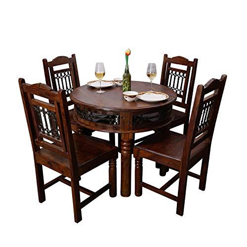 Fab Furnish Jali Esstisch und Stühle, handgefertigt, massives Sheesham-Holz, rund, 4 Stück