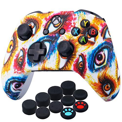 YoRHa Druck Gummi Silikon Hülle Skin Taschen für Xbox One S/X Controller x 1 (Augen) mit Daumengriffe Aufsätze Joystick-Kappen x 10