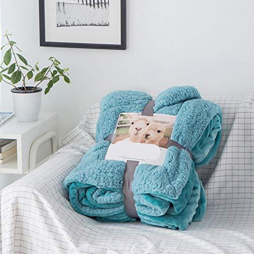 cyxb Luxury All Season Down Comforter, Home Lamb Cashmere Thick Bed Blanket Sofa Winter Warm Duvet Covfer Newborn Wraps Kids Bedspread-Blue 1_150*200cm/59 * 79'