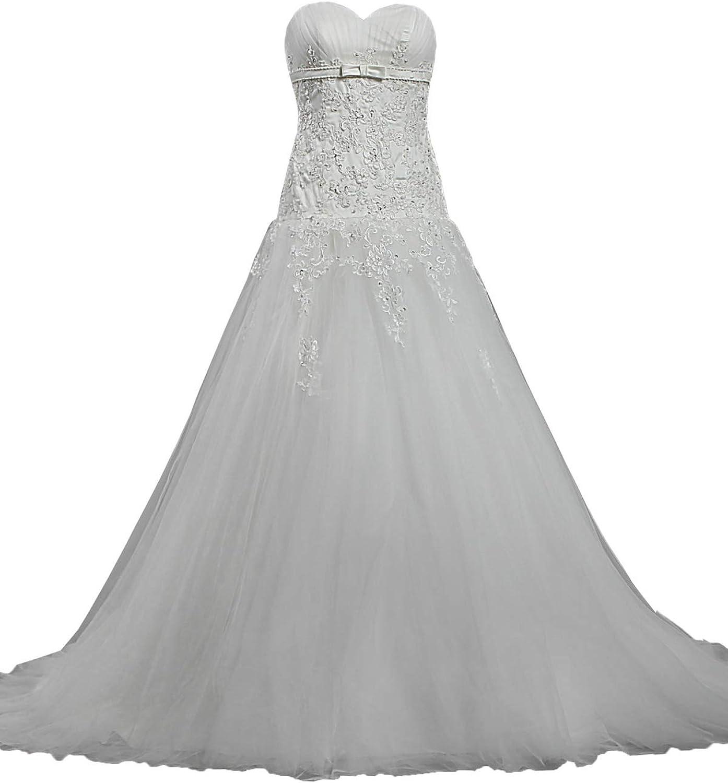 ANTS Women's Designer Strapless Lace Tulle Wedding Dresses 2017