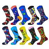 HIWEAR Vestido para hombre Colorido Diseño divertido Comodidad peinada Algodón Crew Pack de calcetines (10PK-mix3)