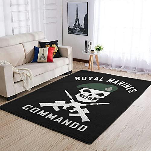YOUYO Spark Alfombra Royal Marines Commando antideslizante - Alfombra duradera para dormitorio blanco 122 x 183 cm
