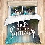 KOSALAER Juego de funda de edredón de algodón lavado, diseño de frase divertida y con logo de texto en inglés 'Say Hello to Summer Day'