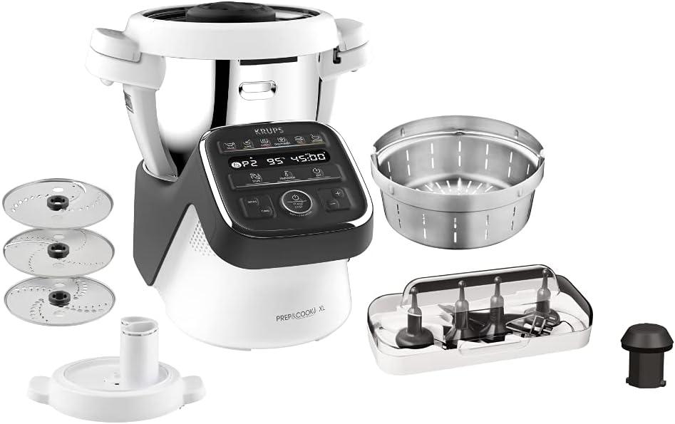Krups Prep & Cook XL Küchenmaschine mit Kochfunktion HP50A8 | inkl. Schnitzelwerk | 1550 W | 3 L Edelstahlschüssel | 12 Programme + Manueller Modus…