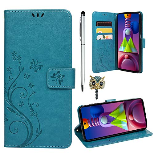 idlehour Hülle für Samsung Galaxy M51 Gemalt Muster Flip Wallet Handyhülle, PU-Leder mit Kartenschlitz Magnetschnalle Halterung case stoßfest Kratzfest Schutzhülle (Blau)