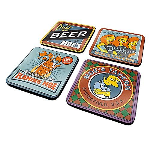 Original The Simpsons Moe's Tavern Set mit 4 Untersetzer-Getränken Mat Duff Beer Bar