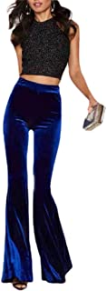Womens Trousers Bell Bottom Casual High Rise Velour Pant