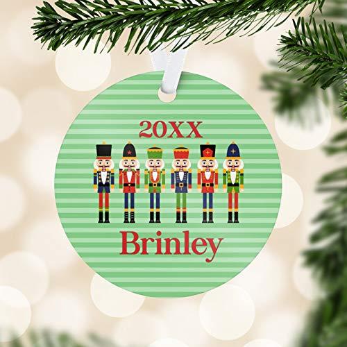 Alicert5II Kindernotenkraker, versiering, mintgroen, strepen, notenkraker, vakantie, decoratie, notenkraker, gepersonaliseerde kerstbal, cadeau voor kinderen