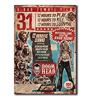 ロブゾンビフィルム31ホラー映画アートポスターキャンバス絵画家の装飾ポスターとプリントキャンバス壁アート寝室のリビングルーム壁の装飾50x70cmフレームなし