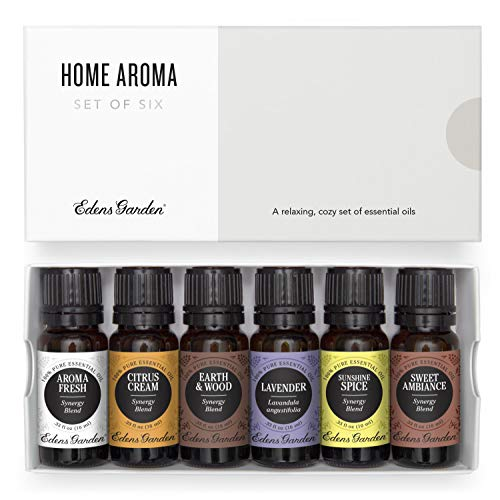 Edens Garden Home Aroma Essential Oil 6 Set, Best 100% Pure Aromatherapy Diffusion Kit (For Diffuser & Therapeutic Use), 10 ml