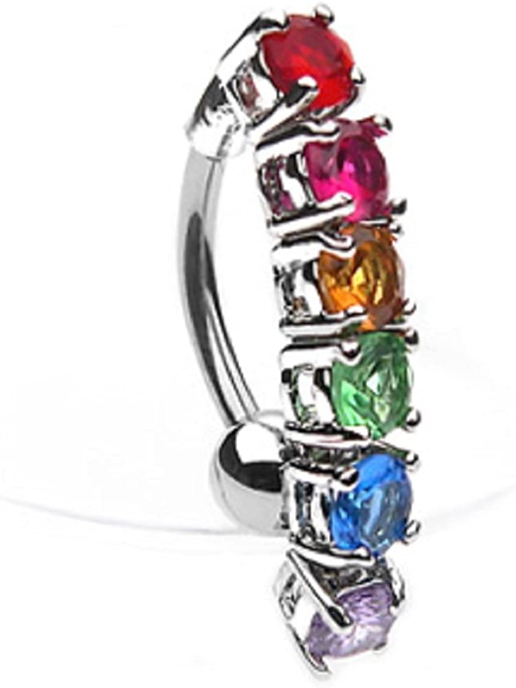 Pierced Owl 14G Stainless Steel CZ Crystal Rainbow Gems Top Down Belly Button Ring