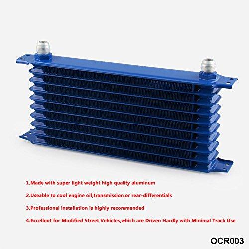 Zantec Enfriador, Radiador de Aceite de motor de transmisión automática para Motor Universal-10Filas AN10