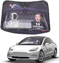 Klutchtech Tesla Model 3 Model Y Windshield Sunshade Foldable Front Window Sun Shade Protector Car Sun Visor Shade Compatible with Tesla Model 3 Model Y