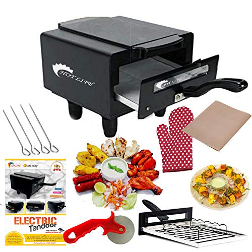 Hot Life 1500W Small Electric Tandoor with Pizza Cutter,Recipe Book,Grill & Skewers,Safety Glove