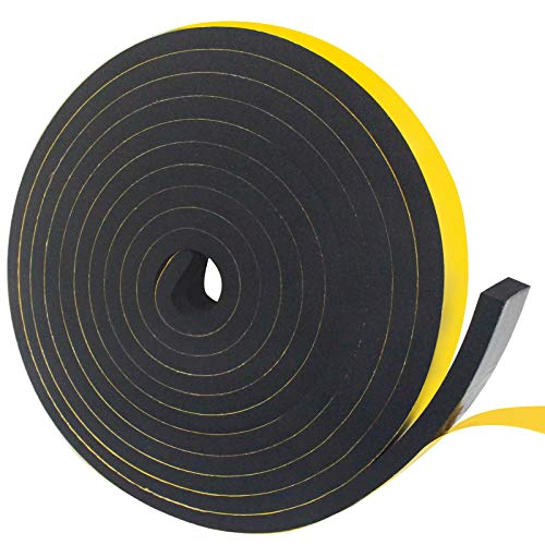 Weather Stripping Door Seal Strip,Foam Insulation Tape for Sliding Doors and Windows Sound Proof Soundproofing Door Seal,Weatherstrip,Air Conditioning Seal Strip (1 in x 2/5 in x 16 Ft)
