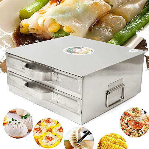 Stainless Steel Kitchen Food Layer Rice Roll Steamer Drawer Machine Rice Milk Furnace Cooking Chinese Cuisine Recipes Cookware for Kitchen DIY Food Commercial or Home Use (2 Layer)