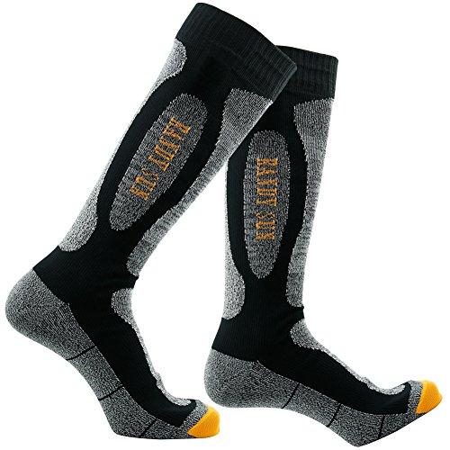 RANDY SUN Damen-Socken, 100 prozent wasserdicht, SGS zertifiziert, kniehoch, für Wandern & Wandern, Schwarz/Grau, Größe S