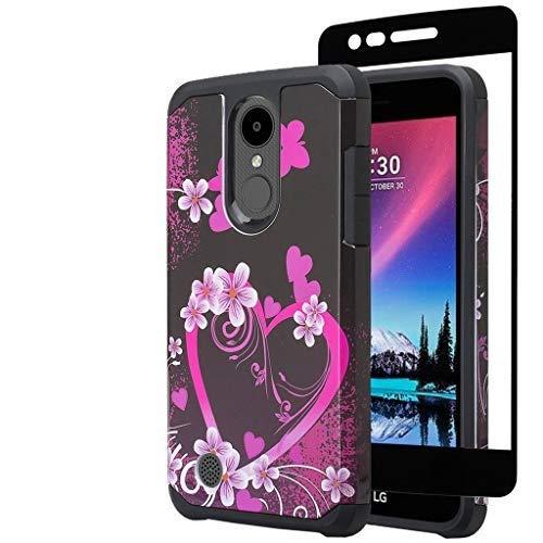 Compatible Case for LG Aristo 3/Aristo 2 Plus/Aristo 2/ Tribute Dynasty/Zone 4/Fortune 2/Risio 3/Rebel 3/Rebel 4/Phoenix 4 Case w/Tempered Glass Screen Protector - Hot Pink Heart