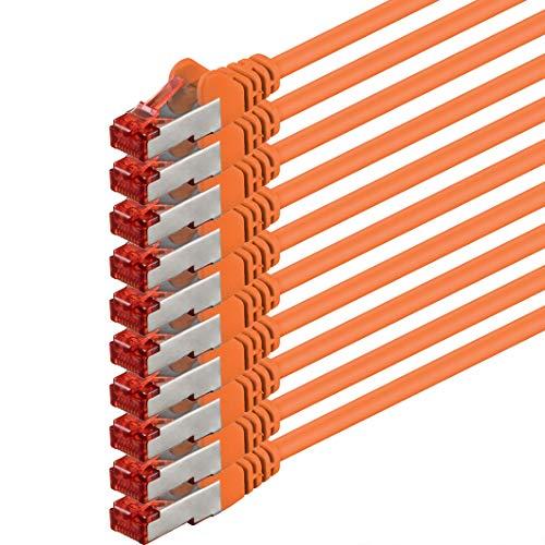 0,25m - arancione - 10 pezzi - Cavo di Rete Cat6 Lan RJ45 1000Mbit s S-FTP CAT 6 PIMF Cavo Patch 1000Mbit s compatibile con Cat.5 Cat.6 Cat.7 Cat.8