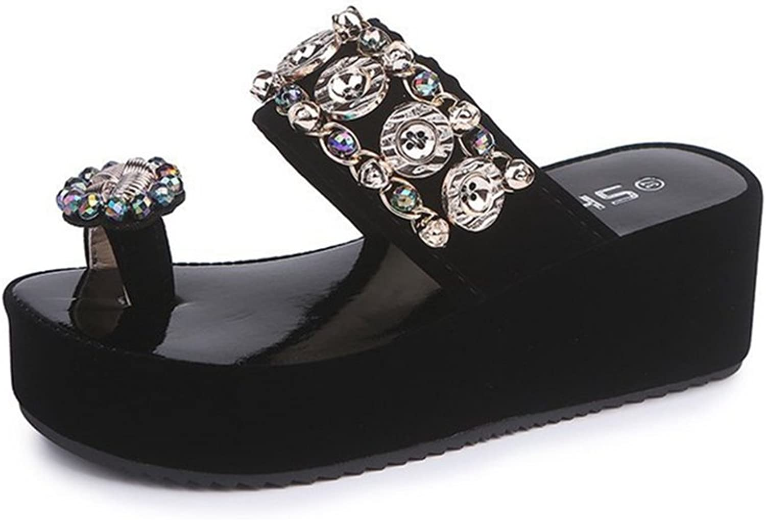 GIY Women's Platform Slides Sandals with Bling Toe Ring Chunky Heel Anti-Slip Summer Beach Wedges Sandals