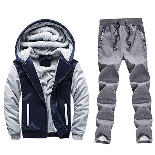 theshyer Estilo de costura con estampado de búho invierno para hombre más chaqueta acolchada de terciopelo con pantalón
