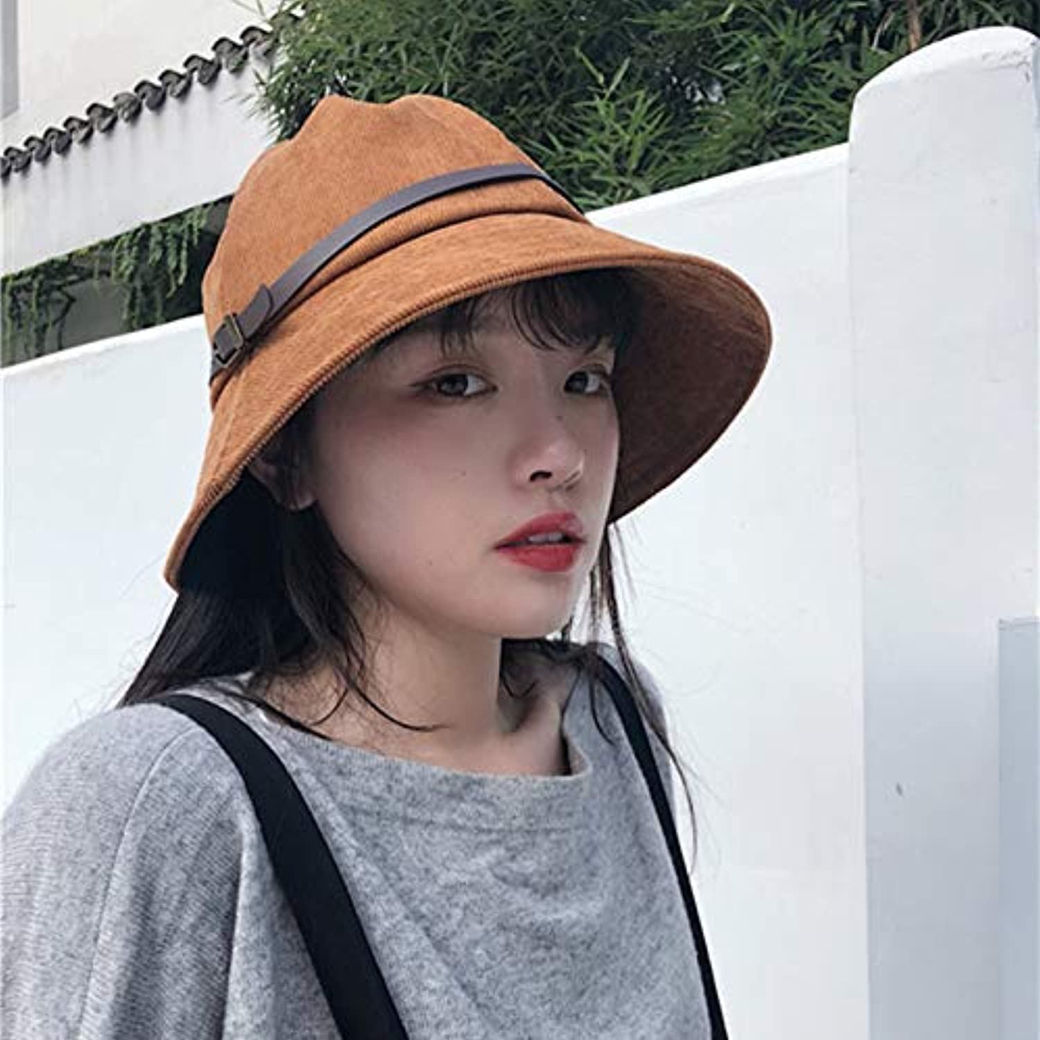 Home Japanese Retro Simple Solid color Corduroy Belt Fisherman hat Men and Women Spring and Autumn Wild caps Out of The Sun hat (color   Light Brown, Size   M(5658cm)) Warm Soft and Comfortable Hats