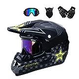 Full Face MTB Helm mit Schutzbrille Handschuhe Maske Helmnetz, Schwarz/Rockstar, Motorrad...