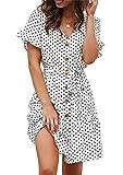 Minetom Vestido Mujer Verano Casual Vestidos de Playa Cóctel Fiesta Retro Punto de Onda Manga Corta Cuello V Mini Dress con Cinturón B Blanco ES 36