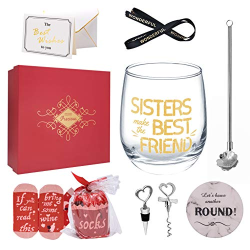 Sisters Make the Best Friend (GOLD) – Sisters Gift for Birthday, Funny Gift from Sister, 12 Oz Wine Tumbler Glass Cup Gift Set, Novelty Glassware for Woman