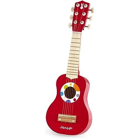 Janod - Ma Première Guitare en Bois Confetti - Instrument de Musique Enfant - Jouet d'Imitation et d'Éveil Musical - Dès 3 Ans, J07628