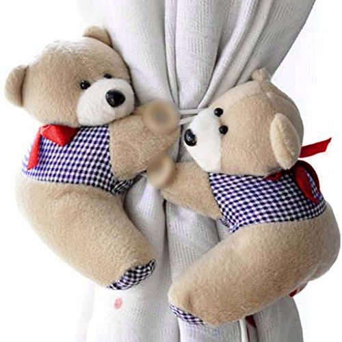 HuntGold - Coppia di ganci per tende per finestra a forma di orsacchiotto di peluche, gancio cintura con fibbia