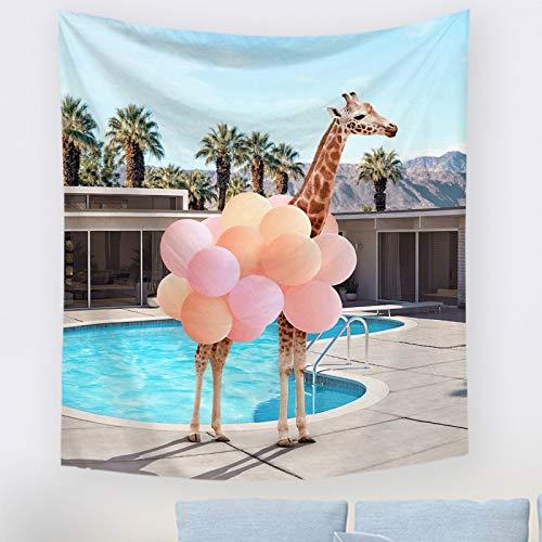 Tapiz de dinosaurio de animal lindo para colgar en la pared, tapices de decoración de pared de playa de verano de jirafa, tela de fondo nórdica INS, decoración de Boho