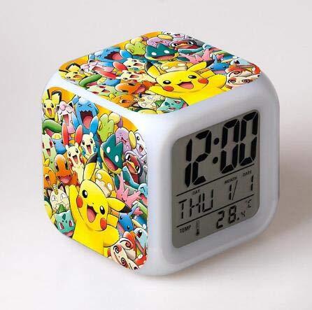 Kids LED 7 Color Anime Pocket Monster Pikachu Pokemon Flash Digital Alarm Clocks Night Light Bedroom Clock reloj despertador,Light Green