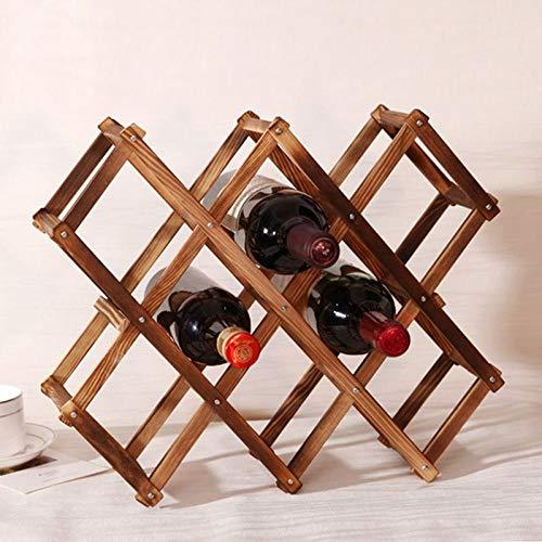 CYONGYOU Houten wijnrek 10 flessenrek installatie bar display rack opvouwbaar houten wijnrek drinkfles rek